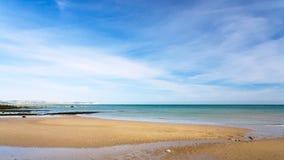 Sand beach of English channel near Cap Gris-Nez. Travel to France - sand beach of English channel near Cap Gris-Nez of Cote d'Opale district in Pas-de-Calais Stock Images