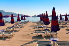 Sand beach in Giardini Naxos. (seaside town in Sicily) in morning Royalty Free Stock Images