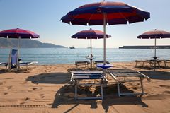 Sand beach in Giardini Naxos, Sicily Stock Image