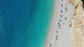 Sand beach in Greece rising shot stock video footage