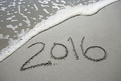 2016 in the Sand at the Beach Royalty Free Stock Images