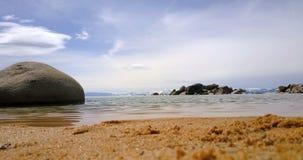 Sand beach of Lake Tahoe stock video