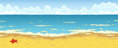 Sand beach. Landscape of sea beach cartoon background Stock Photos