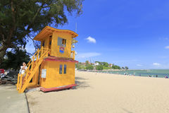 Sand beach life saving station Royalty Free Stock Images