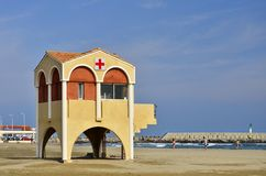 Sand beach and lifeguard watchtower southern France stock photos