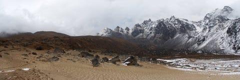 Sand 'beach' near snow mountains, Himalaya, Nepa Royalty Free Stock Photography