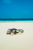 Sand beach and ocean wave, South Male Atoll. Maldives Royalty Free Stock Photos