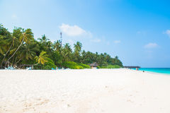 Sand beach and ocean wave, South Male Atoll. Maldives Royalty Free Stock Image