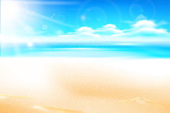 Sand beach over blur sea and sky with sun light flare and copyspace abstract background vector illustration 002. Sand beach over blur sea and sky with sun light royalty free illustration