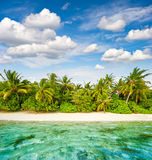 Sand beach with palm trees and cloudy blue sky. Tropical island Stock Photos