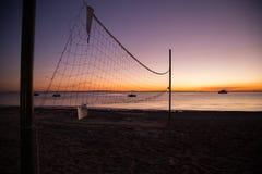 Sand Beach Paradise at Sunset Stock Photo