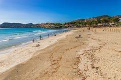 Seaside beach in Peguera on Mallorca island, Spain Mediterranean Sea. Sand beach Platja de Tora, bay coast Majorca,  Balearic Islands Royalty Free Stock Image
