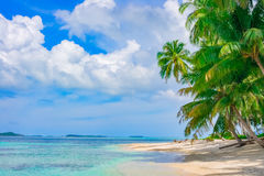 Sand beach on remote tropical island. Banyak Islands, Indonesia, Southeast Asia Stock Photo
