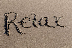 Sand beach script relax Stock Photos