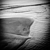 Sand beach and sea in black and white Royalty Free Stock Photo