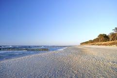 Sand, beach, sea, sky .. Beach on Baltic Sea. Kołobrzeg. Poland Stock Photo