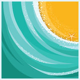 Sand beach and sea waves background vector illustration