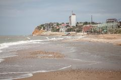 Sand beach by seaside in Crimea Royalty Free Stock Images