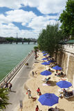 Sand beach Seine riverbank Paris France Royalty Free Stock Photography