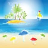 Sand beach, small island. Royalty Free Stock Photo