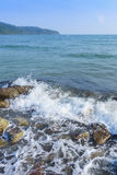 Sand beach and Sponge water waves on beach, the beach Beautiful Royalty Free Stock Images