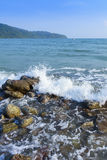 Sand beach and Sponge water waves on beach, the beach Beautiful Stock Photo