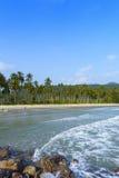 Sand beach and Sponge water waves on beach, the beach Beautiful Royalty Free Stock Image