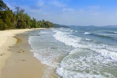 Sand beach and Sponge water waves on beach, the beach Beautiful Royalty Free Stock Photo
