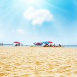 Sand on the beach and sun in blue sky Stock Photography