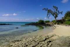 Seascape of Cap Malheureux, Mauritius. Sand beach at sunny day in Cap Malheureux, Mauritius Stock Image