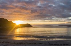Sand beach and sunset Royalty Free Stock Images
