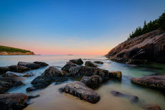 Sand Beach sunset in Maine Stock Image