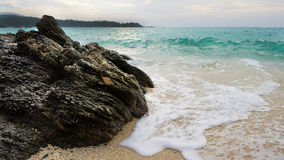 Sand beach before sunset. Royalty Free Stock Image