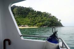 Tioman island in Malaysia. Sand Beach on Tioman island in Malaysia from ferry boat Royalty Free Stock Photo