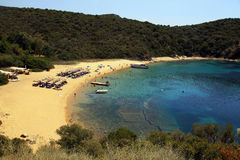 Sand beach and turquoise sea, Ammouliani Island,  Greece Stock Photography