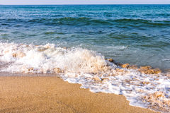 Sand beach and wave. Dunes Beach, Bulgaria Royalty Free Stock Image
