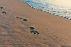 Sand beach, wave and footsteps at sunset Royalty Free Stock Photos