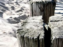 Sand black white weathered wooden post. Close up weathered wooden pole at the beach Royalty Free Stock Photo