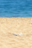 Sand blue sea and slippers. Focus on slippers Stock Photo