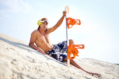 Sand-boarder at leisure Stock Image