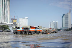 Sand boat tanker. On the river Stock Photo