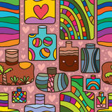 Sand bottle colorful seamless pattern. Illustration abstract colorful sand bottles seamless pattern love background graphic texture element Stock Images