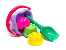 Sand-box set. Plastic sandbox toy set isolated Royalty Free Stock Photo
