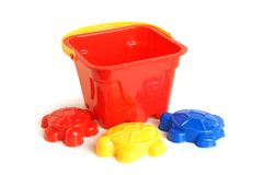 Sand-box toys. On white background Royalty Free Stock Images