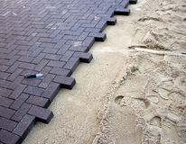 Sand And Brick. This is an image of a pavement being built royalty free stock photography