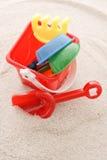 Sand Bucket. Sand Toys In Bucket On Sand stock photography