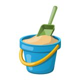 Sand Bucket and shovel. Vector illustration Stock Photos