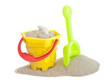 Sand bucket and spade toy. On white background Royalty Free Stock Photos