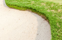 The sand bunker of the beautiful golf course Royalty Free Stock Photos