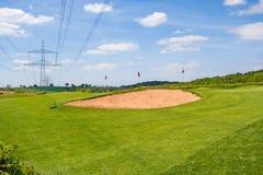 Sand bunker, golf course Stock Photos